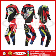 KCM1702 Jersey+pants Race Motocross Suit motorcycle jersey moto clothing set FOX Racing Cross country Tshirt pants