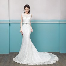 ZH0363Q High neck stain lace short sleeves slim long chapel train bride wedding dress