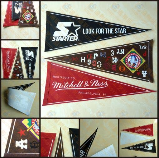 2017 Cheap sports fans felt pennant triangle flags with the digital printing