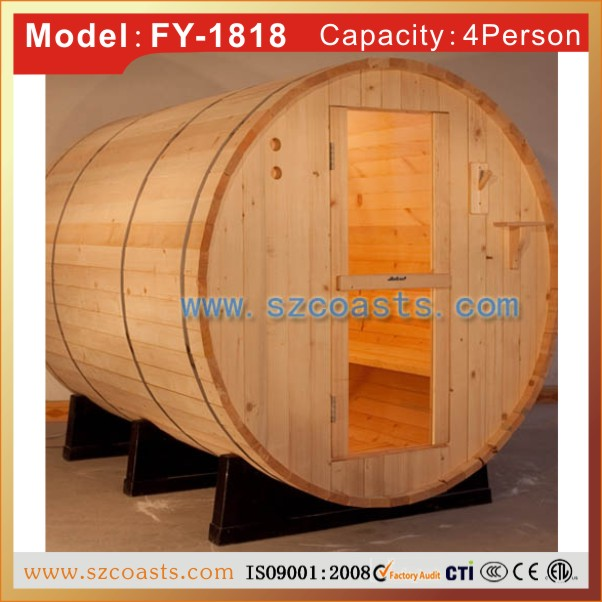 Coasts Type Canada cedar wood 4-6 person outdoor sauna barrel for hotsale