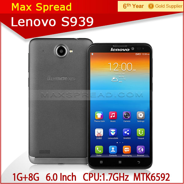 Lenovo S939 6.0 Inch MTK6592 Octa Core Android 4.2 1GB 8GB Smartphone free shipping paypal