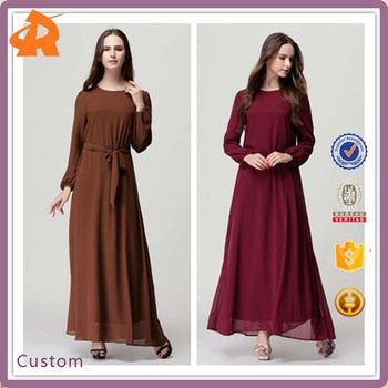 2017 Wholesale New Design Dubai Muslim Dress Chiffom Maxi dress