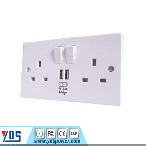 luxuriant double uk in design smart wall 13a and 1gang switch socket