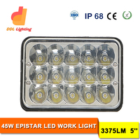 5*7 led work light 45W flush mount jeep headlight 7inch led driving light square headlamp