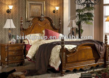 Classical Double Pillar Bed in American Style Painted Silver (BF11-1207e)