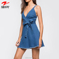 Latest Custom Spaghetti Strap Denim Dress Summer Mini Dress For Women