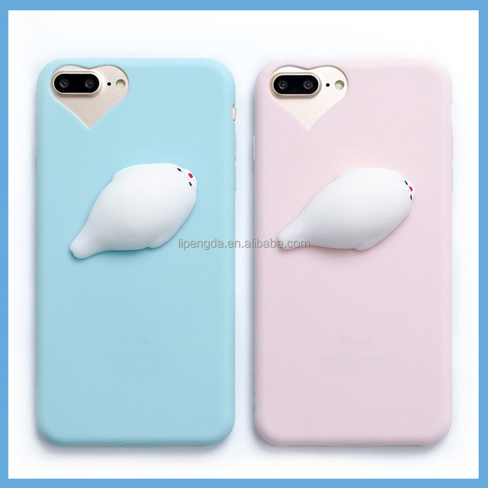 2017 Cute Animal 3D Silicone Squishy Phone Case Popular Promotion Gift Slow Rosing Phone Case For iPhone 6 / 7