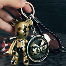 X-man Keychain Souvenir Keyring with Braied Leather Plastic Keychain Ring Removable