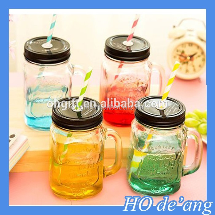 HOGIFT 2016 new hot selling 20oz plastic mason jar cup with handle