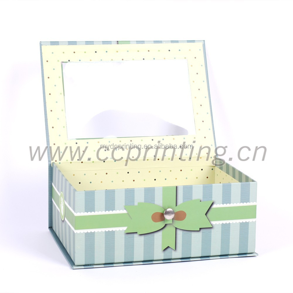 Green paper rigid gift box with clear PVC window and iron lock