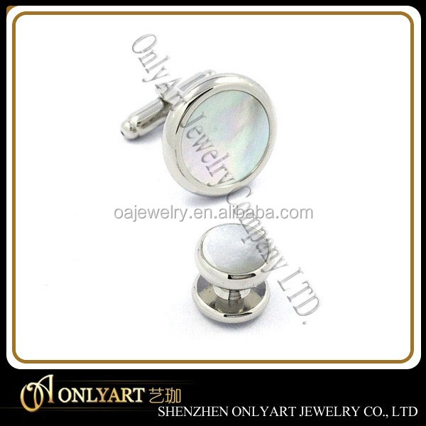 wholesale fashion shirt 925 sterling silver shell inlay cufflink with stud sets