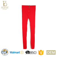 OEM high quality elastic ladies seamless high waist long johns for women winter underwear with zip