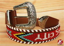 New Arrival Western Waist Beaded Italian Leather Belt of Wholesale