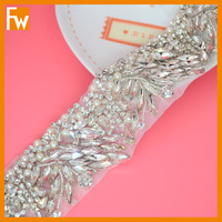 wholesale fancy sew on crystal beads trimmings appliques for wedding dress