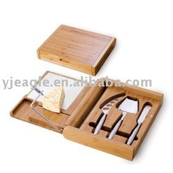 Cheese tool set with bamboo box and slicer