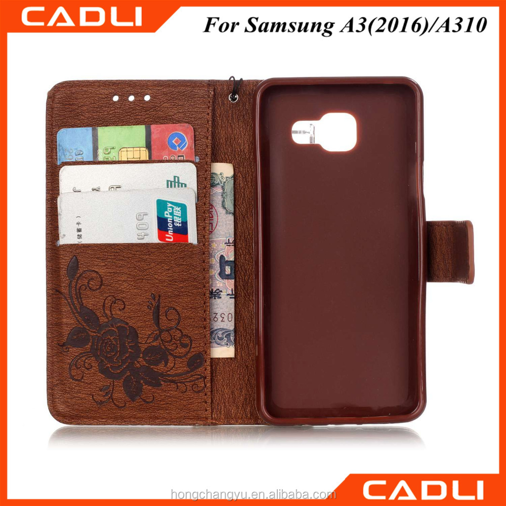 Luxury Retro PU Leather Soft Silicon Wallet Flip Cover Case For Samsung galaxy A3 2016 A310