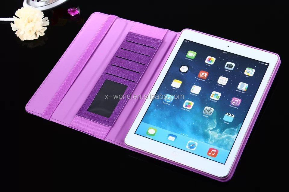 Multi-functional Card Holder Folio Leather Tablet Cover Case for iPad Air