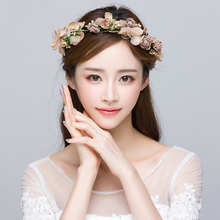Flower Wreath Khaki Simulation Flower <strong>Headband</strong> for Bride Wedding Hair Accessories