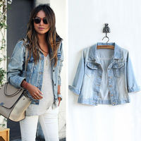5072 FanShou 2014 Women Coat Spring Autumn Cardigans Denim Jackets Single Breasted Short Outwear women Jacket Jeans Jacket