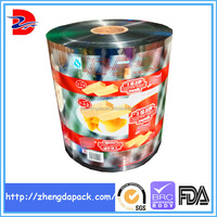 printed metalized plastic film for snack food packaging