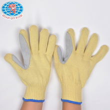 top product 7G aramid fiber glove with cow split leather sewn between thumb and index finger