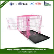 alibaba china manufacture hot sale metal steel dog cages with wheels / pet cage with tray and wheels ( Factory & ISO9001 )