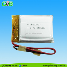 Rechargeable prismatic 102737 LP small battery 3.7v 850mah for GPS, MP3, MP4, PDA, PMC, PMP, PSP;