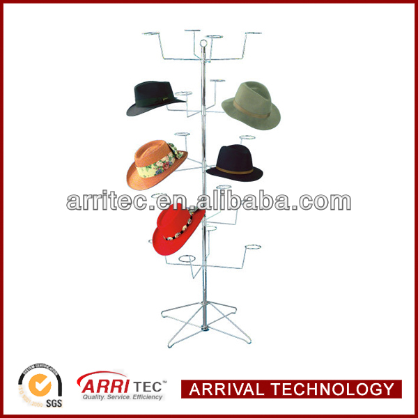 Economical metal Spinning stand hold 20pcs cap Wire Hat Rack Display