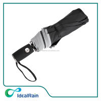 Double Canopy Wind Resistant Travel Umbrella with Reflective Edge