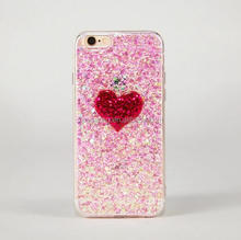 Pink heart shining case for iPhone 6 6 Plus, silver sparkling case for iPhone 7 heart design