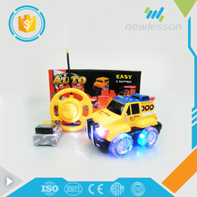 2017 2 channel cartoon engineering rc toy military truck with lights music