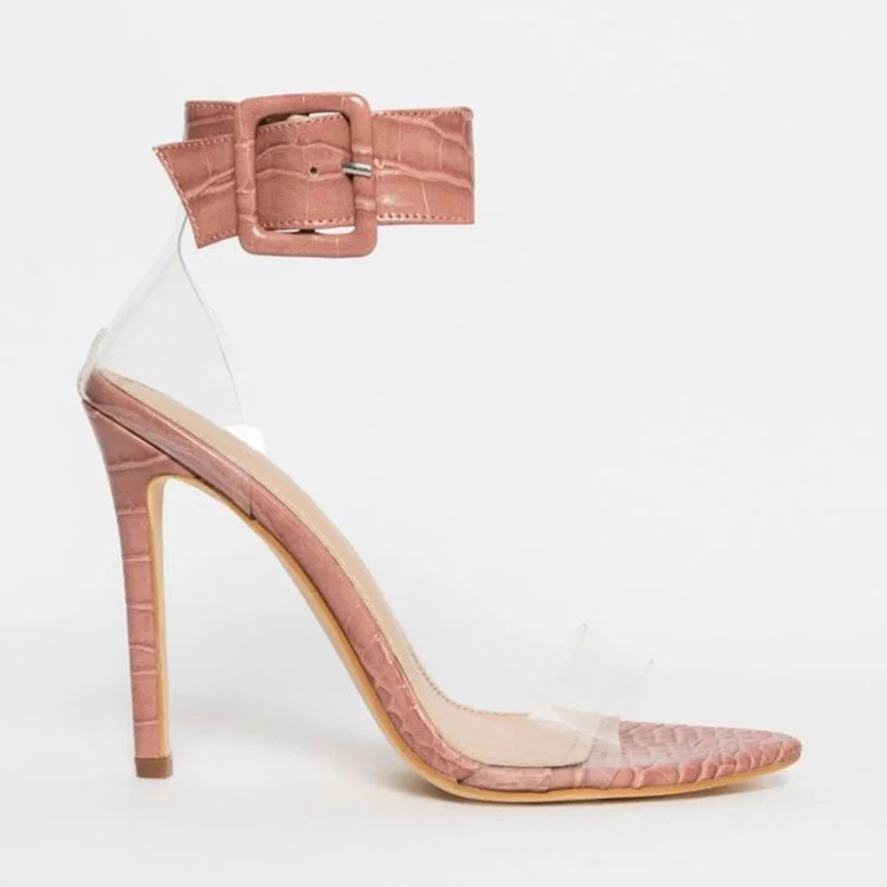 Factory Wholesale Low Price Plus Size 45 Summer Sandals Pointy Toe Snakeskin Sandals Ladies Shoes High <strong>Heel</strong>