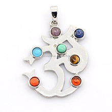 Ohm Vintage Chakra Jewelry Brass Gemstone Pendants, with Alloy Findings