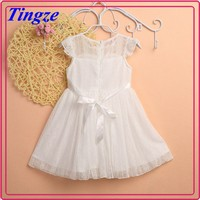 Hot fashion sleeveless bandage with pearl baby dress design girls party lace kids dress