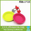 Eco-friendly silicone dog folding bowl with bottle band and clip