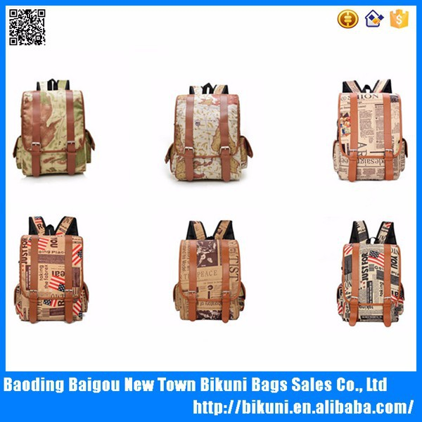 Full color fashion map printing backpack newspaper school backpack