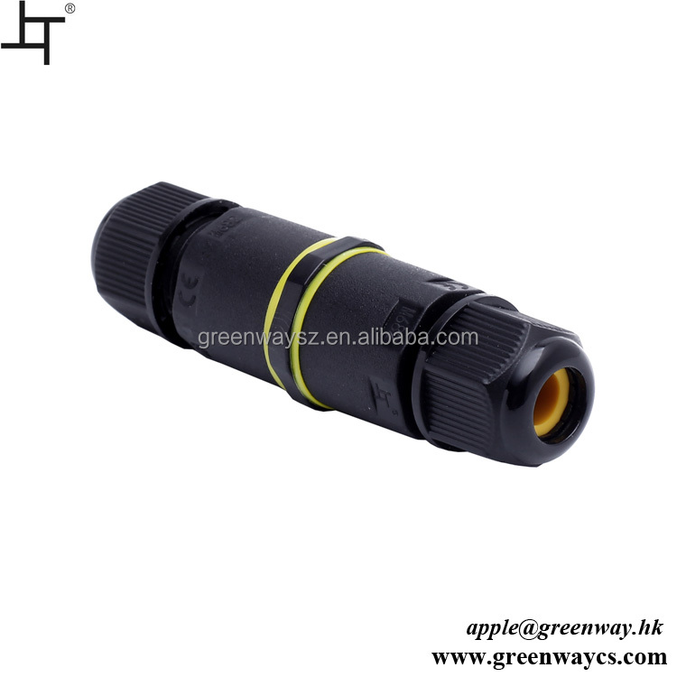 Waterproof Low Voltage 2-pin Plastic Electrical Wire Connector IP68