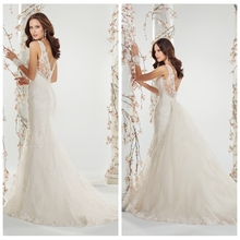 mermaid lace v neck high low wedding dress with detachable train