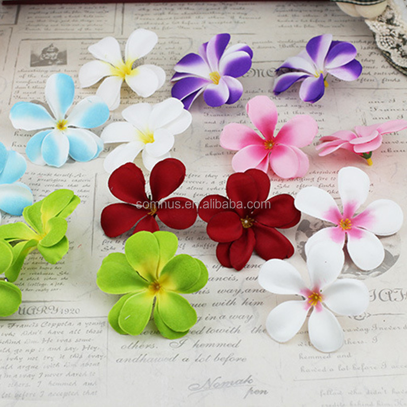 Hawaiian Party Artificial Frangipani Flowers Silk Plumeria for Decoration