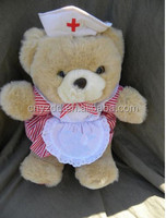 plush nurse teddy bear/handmade stuffed plush toy bear/nurse plush bear toys