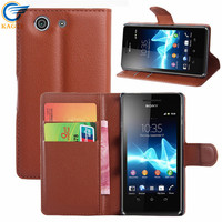 Luxury crystal Classic crystal crazy horse grain leather case for Sony XPERIA E4G
