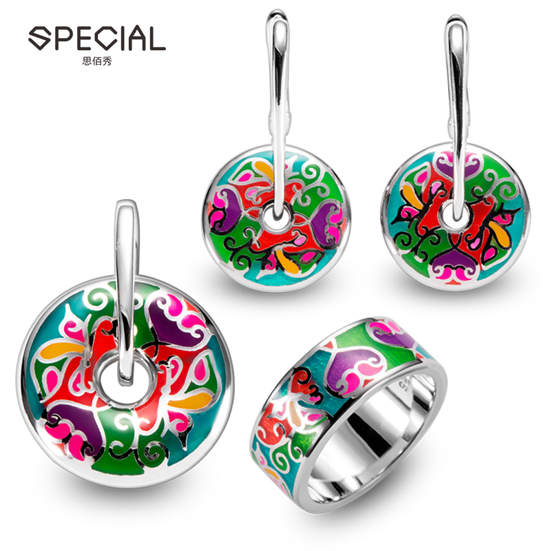Special party 925 silver enamel latest design jewelry set