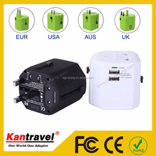 JS-W002-3 DongGuan universal travel adapter dual usb travel charger mobile phone adapter with USA/AUS/UK/EURO Plug