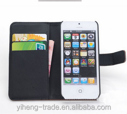 High Quality PU leather Flip case for Iphone5 5S with Stand Card Holder slots