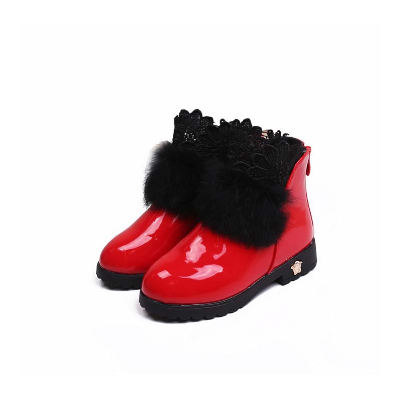 TSW1146 Red color black fur kid girls winter boots