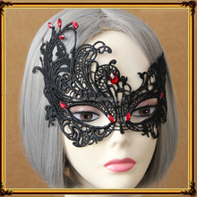 Sexy Black Lace Mask With Red Stone Women Mask Party
