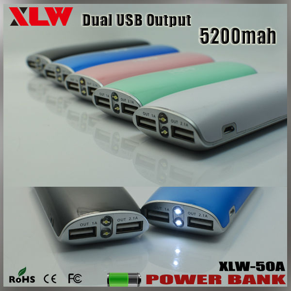 Portable Mobile Power Supply 5200mah Power Charger Universal for Tablet and Smart Phones with RoHS CE FCC