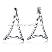 Special bali jewelry earring 18k white gold zircon earring fashionable triangle earrings
