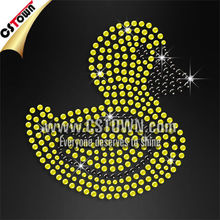 Wholesale hot fix bling motif cute yellow duck t shirt transfers