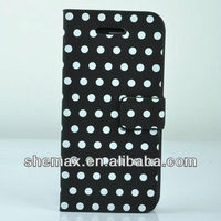 Light Blue/Black Polka Dot Leather Flip With Stand Case Cover fit for iPhone5 5G